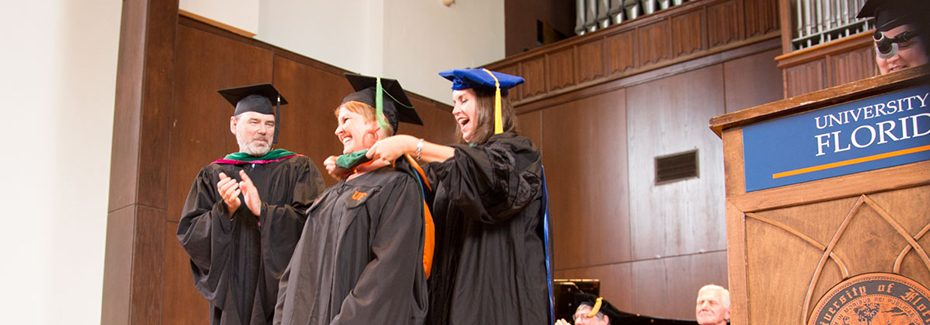 Student receives her hood at PA commencement ceremony