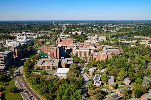 Aerial photo of UF Health Science Center campus