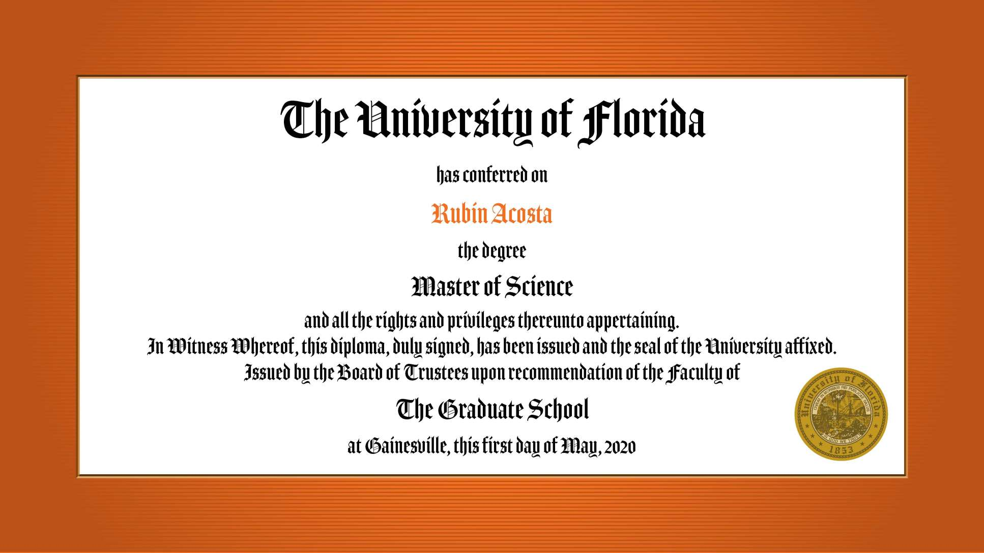 UF College of Medicine master's degree recipients video