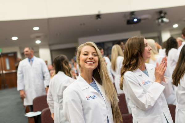 PA class of 2020 - smiling student at White Coat ceremony