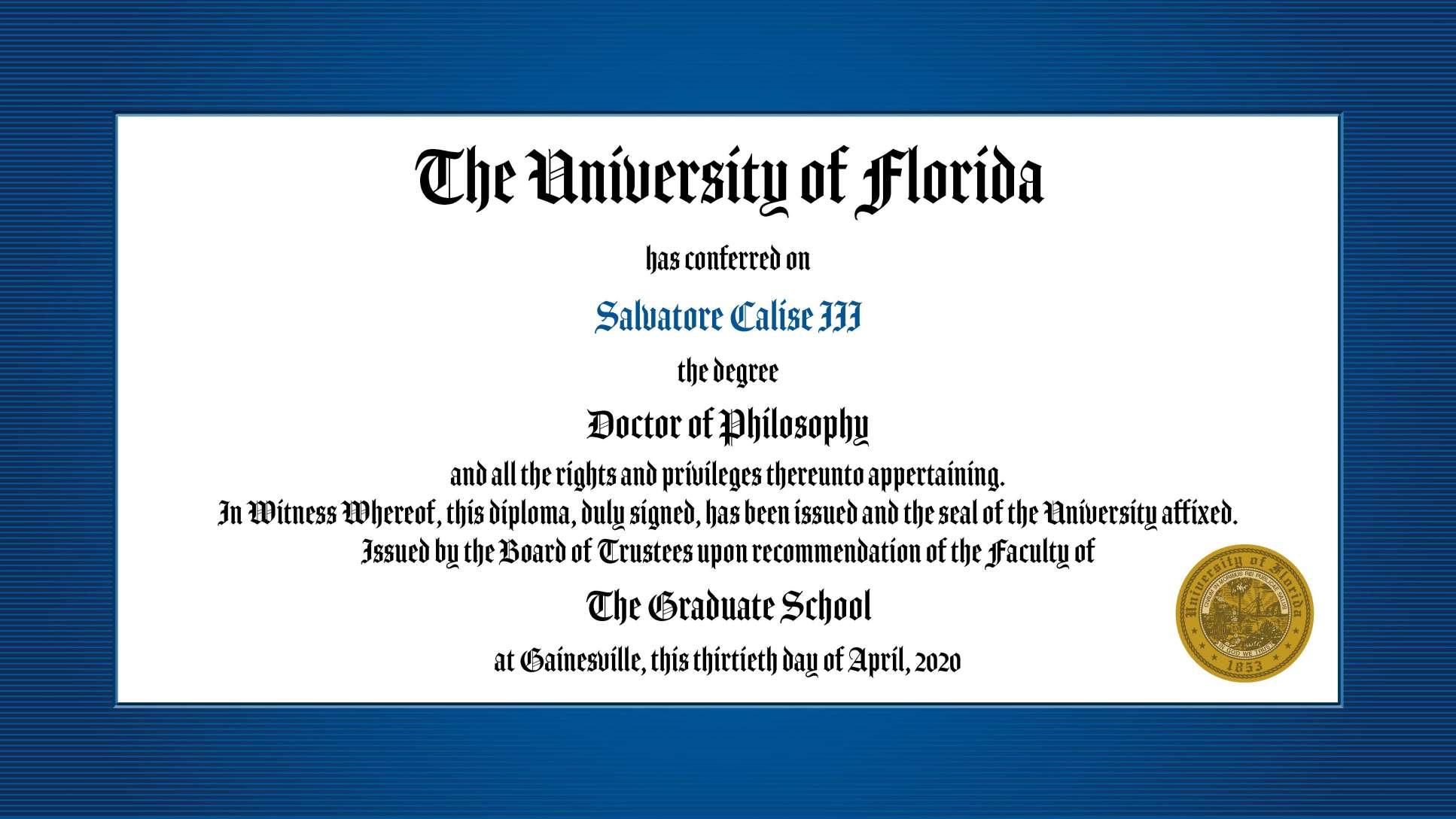 Doctor of Philosophy diploma for John Calise