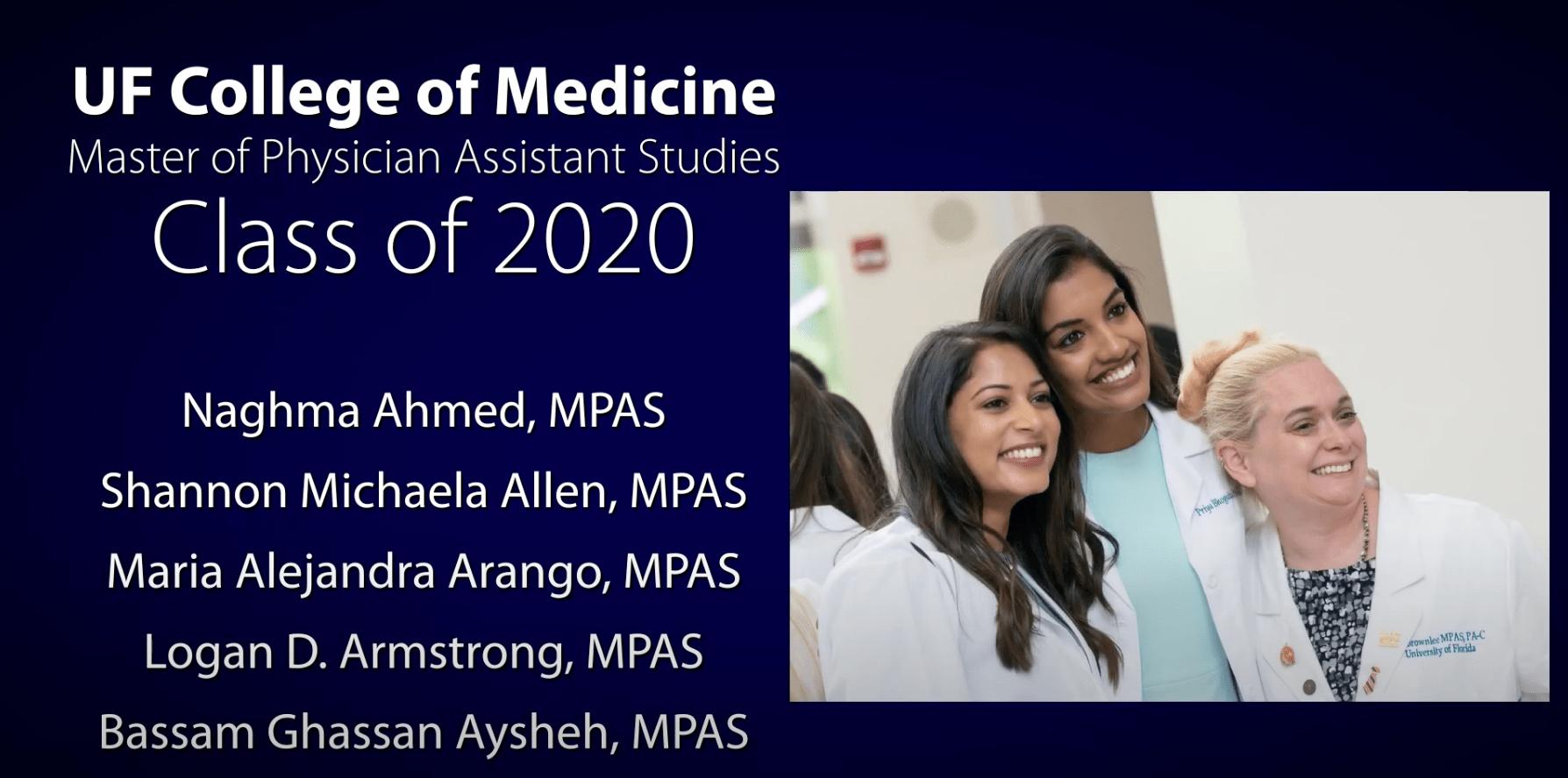 U-F College of Medicine School of P-A Studies list of graduates
