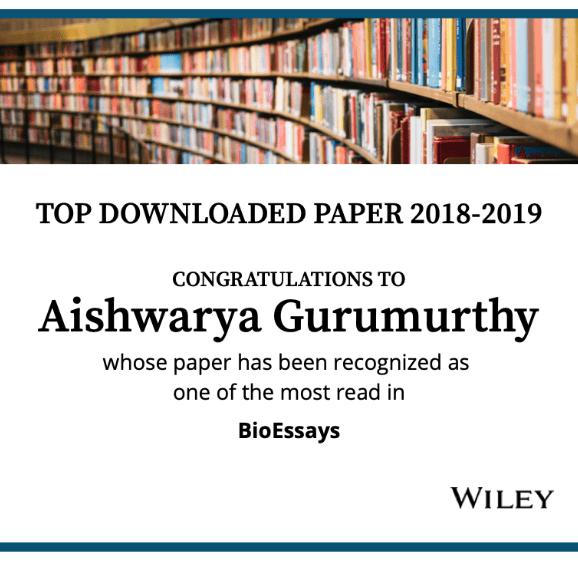 Top downloaded paper 2018-19: Aishwarya Gurumurthy