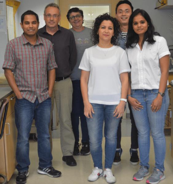 Aishwarya Gurumurthy with five fellow members of her lab,