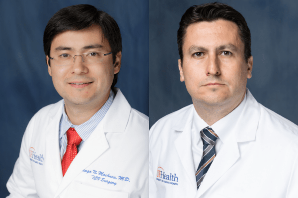 Portraits of doctors Tiago Machuca and Thiago Beduschi wearing white lab coats.