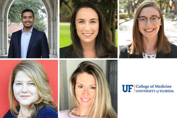 Grid of head shots for five students, along with the U-F College of Medicine logo.