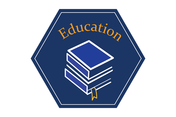 """A blue hexagonal icon that reads, """"education"""" and depicts an illustration of a stack of books."""