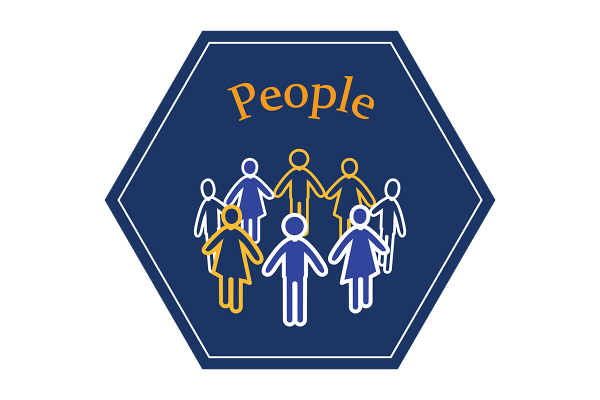 """A blue hexagonal icon that says """"people"""" and depicts an illustration of a circle of people holding hands."""