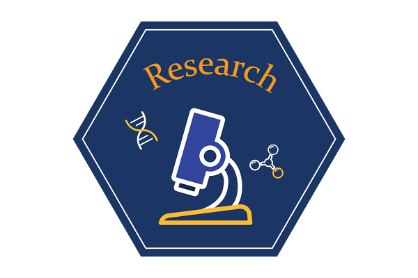 """A blue hexagonal icon that says """"research"""" and depicts an illustration of a microscope."""