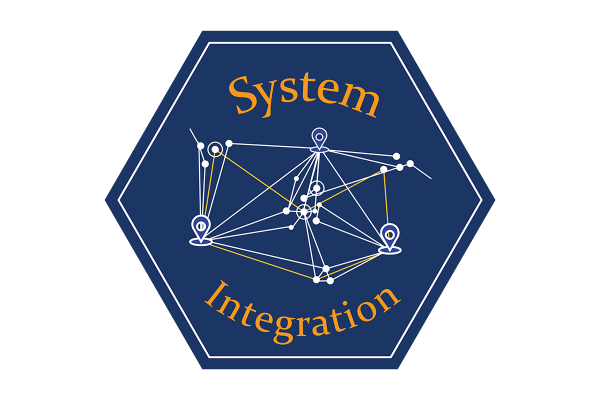 """A blue hexagonal icon that says """"system integration"""" and depicts an illustration of a line graph."""