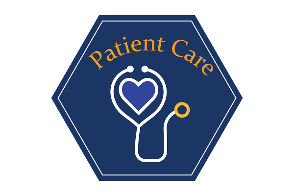 """A blue hexagonal icon that reads, """"patient care"""" and depicts an illustration of a stethoscope."""