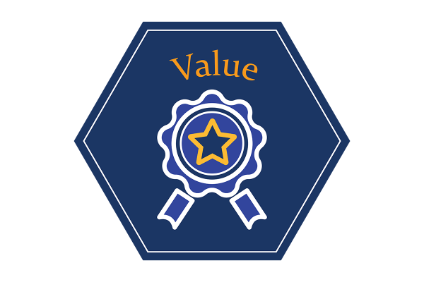 """A blue hexagonal icon that says """"value"""" and depicts an illustration of an award ribbon."""