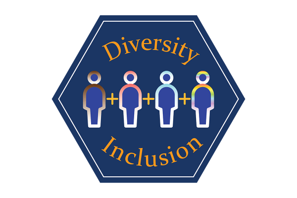 """A blue hexagonal icon that reads, """"diversity inclusion"""" and depicts an illustration of people."""